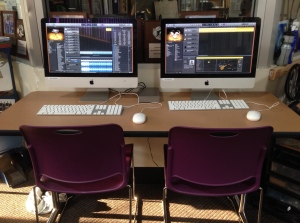 iMacs ready with Logic Pro X for multi-track recording and producing soundscape recordings from field trips into nature.