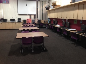 I hope that fewer tables will allow me to interact with my students more fluidly and to keep my floors and furniture more clean and organized.