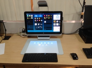 An HP Sprout setup to experiment with tablet tracing and 2D/3D modeling.